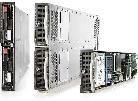 Pohled na dedikované modely HP BL30p, BL20p servery s CPU Intel